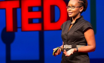 Juliana Rotich presenting an innovative internet provider BRCK to a TED audience