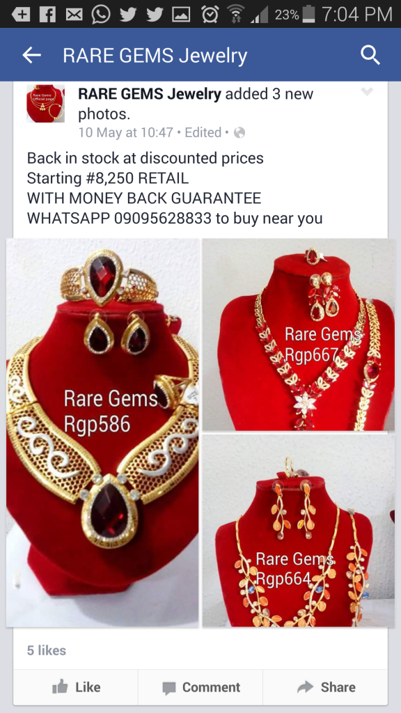 A Rare Gems Facebook advert