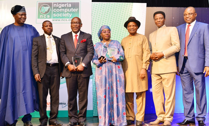 Mrs. Florence Seriki (middle) at the Nigeria Computer Society Award in 2015