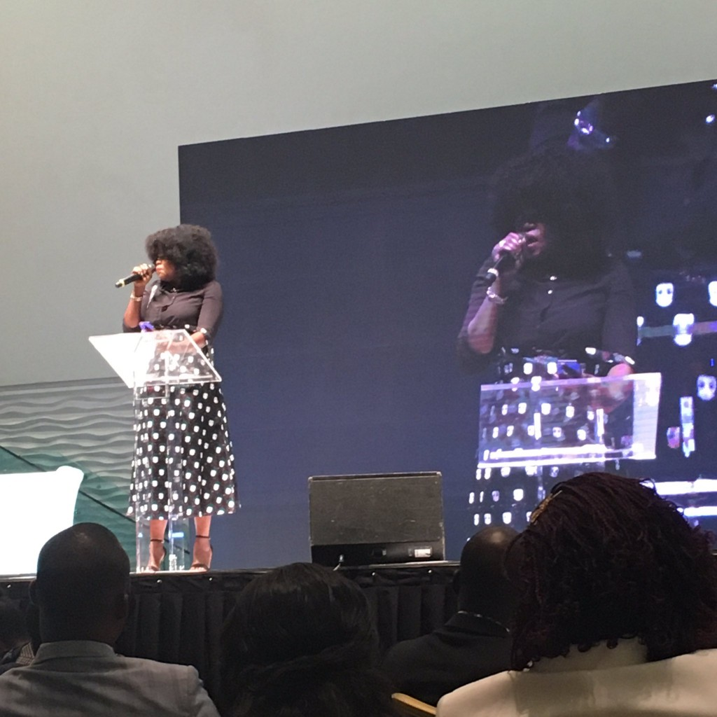 Funke Akindele-Bello speaking at the event
