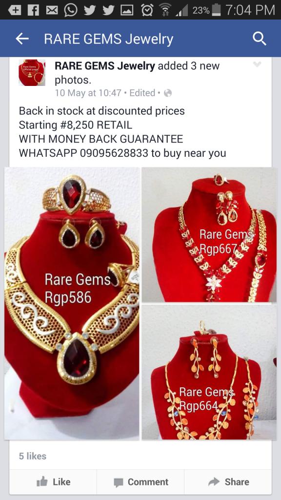 A Rare Gems Facebook advert