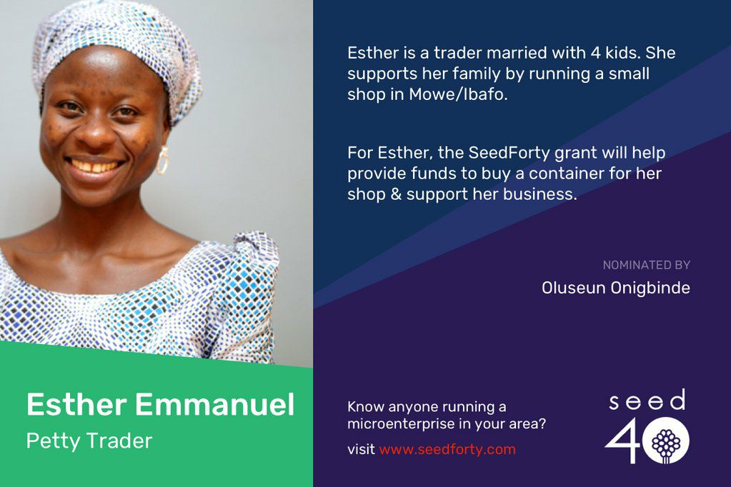 Bosun Tijani announces first beneficiary of the SeedForty Program, Esther Emmanuel, a trader wins N100,000