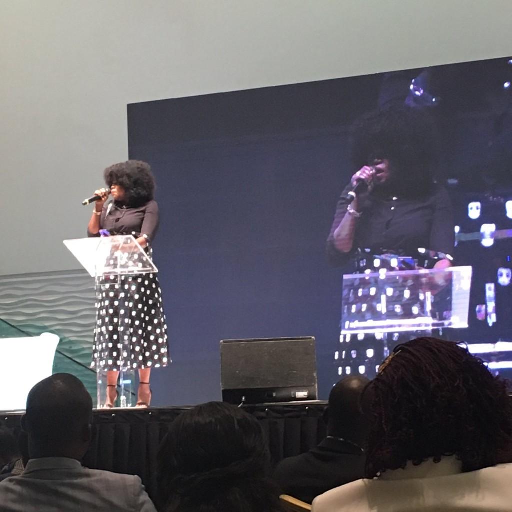 Funke Akindele-Bello speaking at the event